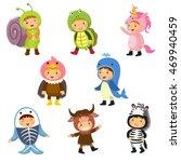 set of cute kids wearing animal ... | Shutterstock .eps vector #469940459
