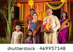 smart indian old couple holding ... | Shutterstock . vector #469957148