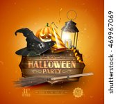 modern halloween party flyer... | Shutterstock .eps vector #469967069