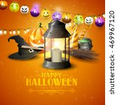 happy halloween greeting card... | Shutterstock .eps vector #469967120