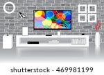 modern bright room with flat tv ... | Shutterstock .eps vector #469981199