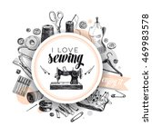 Vector Hand Drawn Sewing...