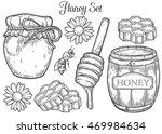 honey jar  barrel  spoon  bee ... | Shutterstock .eps vector #469984634