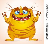 happy cartoon monster.... | Shutterstock .eps vector #469993520
