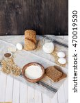 whole wheat bread with bio and... | Shutterstock . vector #470019530