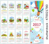 calendar for 2017 with set of... | Shutterstock .eps vector #470021780