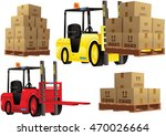 forklift truck and pallets. | Shutterstock .eps vector #470026664
