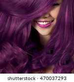 Beautiful smile model with silky hair, colorful hair, purple hair, Pink hair, blonde, red