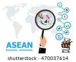 the magnifier to asean economic ... | Shutterstock .eps vector #470037614