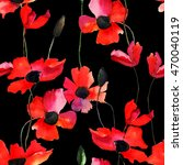 seamless wallpaper with poppy... | Shutterstock . vector #470040119