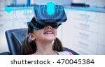 interface against girl using...   Shutterstock . vector #470045384