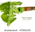painting a leaf with water drops - stock photo