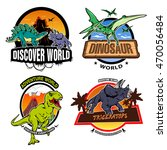 Dinosaur World Colorful Emblem...