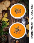 homemade pumpkin soup | Shutterstock . vector #470059583