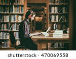hipster student studying in... | Shutterstock . vector #470069558