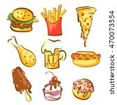 fast food meals set. comic... | Shutterstock .eps vector #470073554