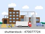truck and forklift loader near... | Shutterstock . vector #470077724