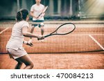 tennis players playing a match... | Shutterstock . vector #470084213
