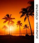 tropical sunset | Shutterstock . vector #470091968
