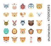 birds and animals faces colored ... | Shutterstock .eps vector #470093093