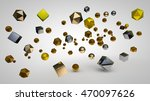 image of large clusters of golden balls, silver cubes and Platonic Solids from precious metals on a white background, abstraction, 3d rendering - stock photo