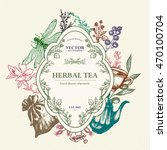 herbal tea vector card design ... | Shutterstock .eps vector #470100704