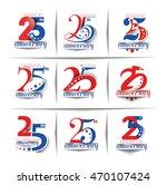set of 25th years anniversary... | Shutterstock .eps vector #470107424