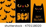 Stock vector halloween cards set vector illustrations with black cat 470118020