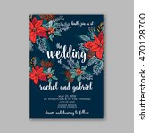 floral wedding invitation with... | Shutterstock .eps vector #470128700