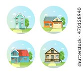 set of flat icons the house... | Shutterstock . vector #470128940