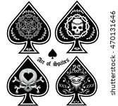 ace of spades with skull | Shutterstock .eps vector #470131646