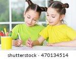 girls  on lesson of art | Shutterstock . vector #470134514