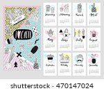 calendar 2017 with cute quirky... | Shutterstock .eps vector #470147024