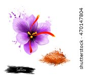 flower crocus and dried saffron ... | Shutterstock . vector #470147804