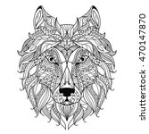 wolf head zentangle stylized ... | Shutterstock .eps vector #470147870