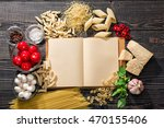 the blank  open recipe book and ... | Shutterstock . vector #470155406