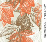 cocoa beans seamless pattern.... | Shutterstock .eps vector #470157839