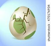Crackes green egg. | Shutterstock vector #470176934