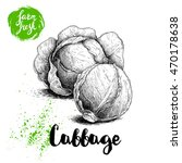 hand drawn sketch cabbages.... | Shutterstock .eps vector #470178638