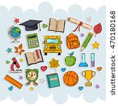 back to school set .scrapbook... | Shutterstock . vector #470180168