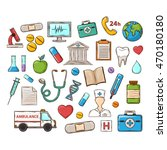 medical icon set. cartoon... | Shutterstock . vector #470180180