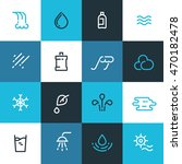 set of blue water line icons....