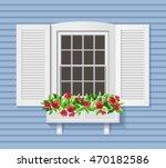 white shutter window on blue... | Shutterstock .eps vector #470182586
