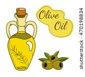 olive oil in the bottle with a... | Shutterstock .eps vector #470198834