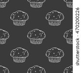 seamless pattern with muffin.... | Shutterstock .eps vector #470200226