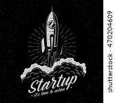 rocket takes off startup symbol ... | Shutterstock .eps vector #470204609