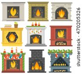 set of vector fireplace icons... | Shutterstock .eps vector #470205326