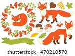 vector foxes set with leaves ... | Shutterstock .eps vector #470210570