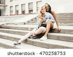 cute group of teenages at the... | Shutterstock . vector #470258753