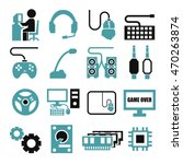 gamer  gaming gear icon set | Shutterstock .eps vector #470263874